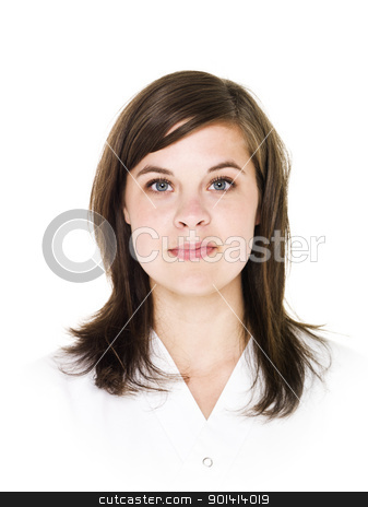 Portrait of a young woman stock photo, Portrait of a young woman isolated on white background by Anne-Louise Quarfoth