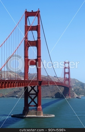 San Francisco Golden Gate stock photo, View of the Golden Gate bridge in San Francisco, California. by Henrik Lehnerer