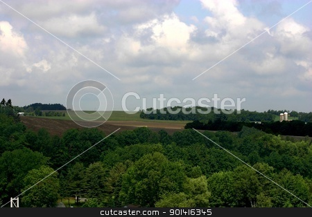 Farm land stock photo, Extended view of Eastern Township farm land by Denis Brien