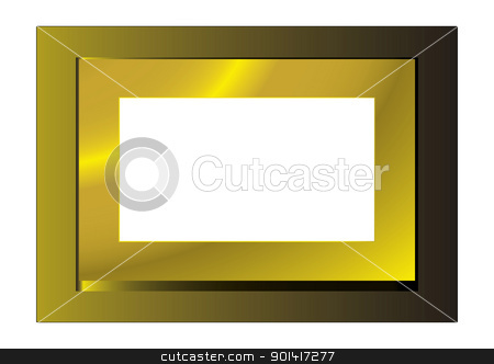 Gold photo frame stock vector clipart, Gold metal frame with space for your own photograph by Michael Travers