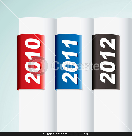 Tab date file stock vector clipart, New year date collection with paper tab for 2012 by Michael Travers