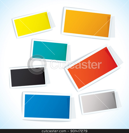 Paper tape tag stock vector clipart, Collection of paper notes with copy space for text by Michael Travers