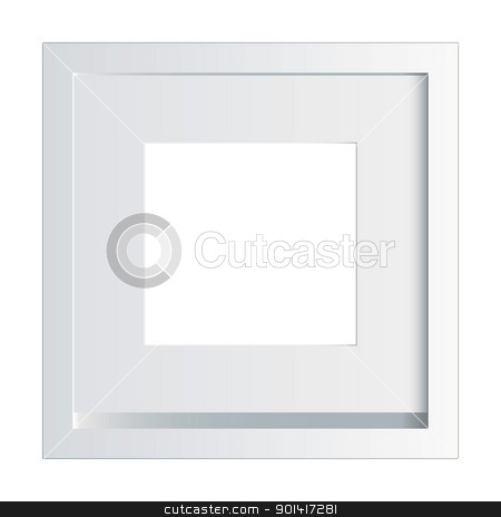 White photo frame stock vector clipart, White picture or photo frame made of painted wood by Michael Travers