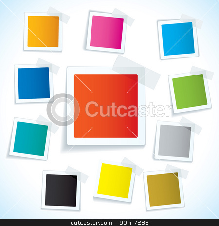 Paper tape square tag stock vector clipart, Collection of paper notes with copy space for text by Michael Travers