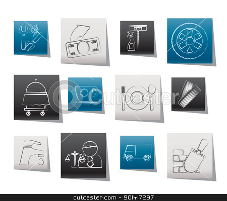 Services and business icons stock vector clipart, Services and business icons - vector icon set by Stoyan Haytov
