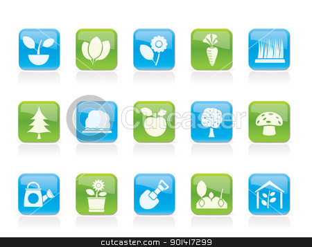 Different Plants and gardening Icons  stock vector clipart, Different Plants and gardening Icons - vector icon set by Stoyan Haytov