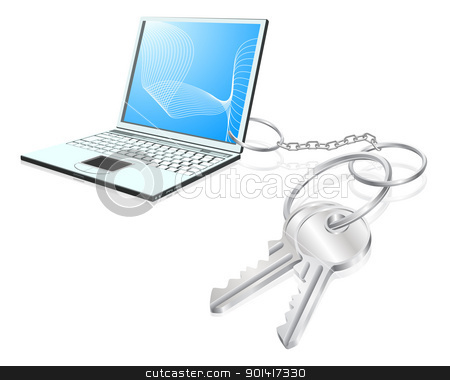 Laptop keys access concept stock vector clipart, Illustration of  laptop computer attached to keys as a keyring. Access to computers, learning, internet security etc. concept by Christos Georghiou