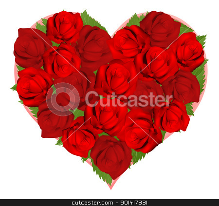 Beautiful red roses in heart shape stock vector clipart, Illustrations of beautiful red roses in heart shaped arrangement by Christos Georghiou