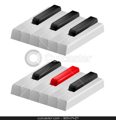 Black and white piano keys stock photo, Close up illustration of black and white piano keys by dvarg