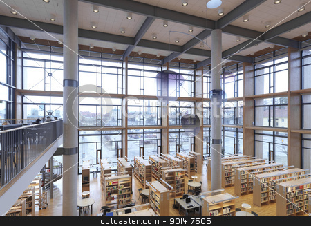 Modern Library stock photo, Interior from a modern library by Anne-Louise Quarfoth
