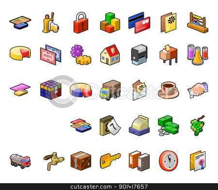 Food Industry Icon Set stock vector clipart, Icons from food industry and transportation industry as a vector illustration by Vitezslav Valka