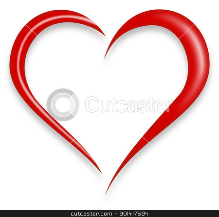 Red Love Heart Vector stock vector clipart, Red Love Heart Vector Illustration isolated on white background by Vitezslav Valka