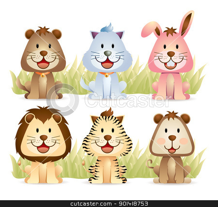 Cute Animals Collection stock vector clipart, cartoon illustration of various cute animals collection by H4nK