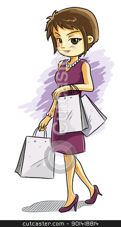 Cute Shopping Girl stock vector clipart, cartoon illustration of cute girl bring many shopping bag by H4nK