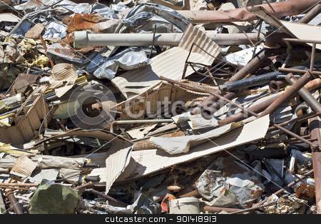 Scrap Metal Pile stock photo, Pile of scrap metal in junkyard, full frame by Bryan Mullennix