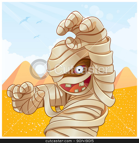 Mummy Cartoon stock vector clipart, cartoon illustration of mummy for your halloween image by H4nK