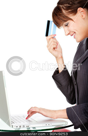 Happiness because of on line shopping with credit card stock photo, Girl is happy because of on line shopping with credit card, isolated on white background by iMarin