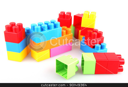 Plastic toy blocks stock photo, Plastic toy blocks on white background by Nenov Brothers Images