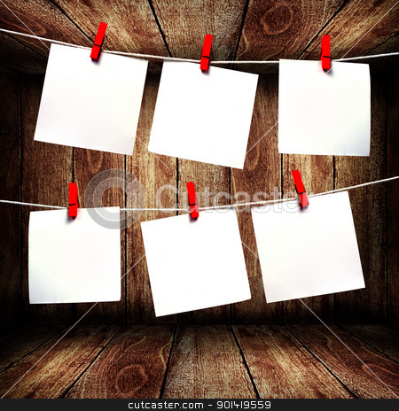 Blank note paper hanging on rope in wooden box stock photo, Blank note paper hanging on rope in wooden box by pixbox77