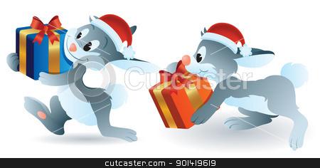 Christmas Bunny stock vector clipart, cartoon illustration of christmas bunny bring present by H4nK