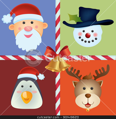 Christmas Icon Ornament stock vector clipart, christmas icon background for your christmas design element by H4nK