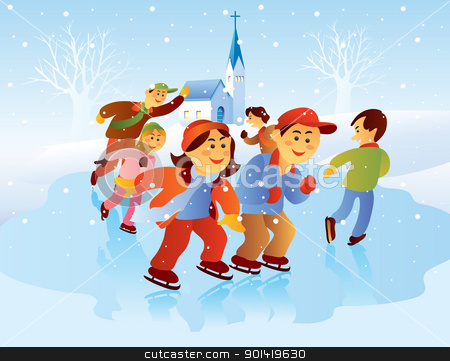 Kids Playing Ice Skating stock vector clipart, cartoon illustration of kids playing ice skating at christmas holiday by H4nK