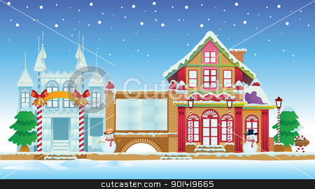 Santa House and Ice Castle stock vector clipart, cartoon illustration of santa house and ice castle for your christmas design by H4nK