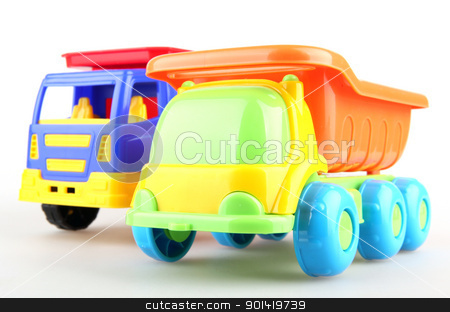 Colorful toy truck isolated on white background stock photo, Colorful toy truck isolated on white background by Nenov Brothers Images