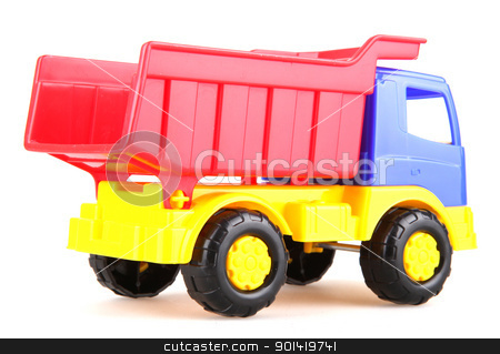 Colorful toy truck stock photo, Colorful toy truck isolated on white background by Nenov Brothers Images