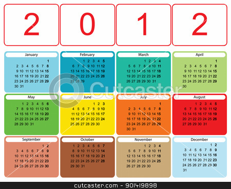 2012 calendar stock vector clipart, Modern colorful calendar for 2012 by Mile Atanasov