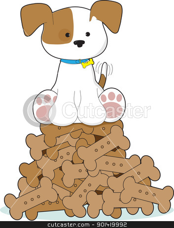 Cute Puppy and Bones stock vector clipart, A cute puppy with a blue collar and wagging tail, is sitting atop a pile of dog biscuits. by Maria Bell