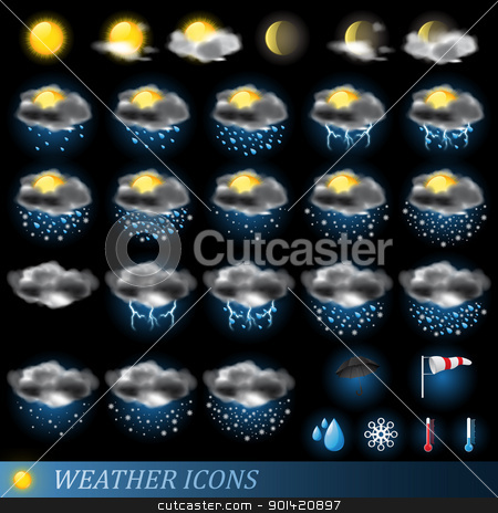 Weather icons set stock vector clipart, Weather icons set isolated on black. Vector illustration by Vladimir Gladcov