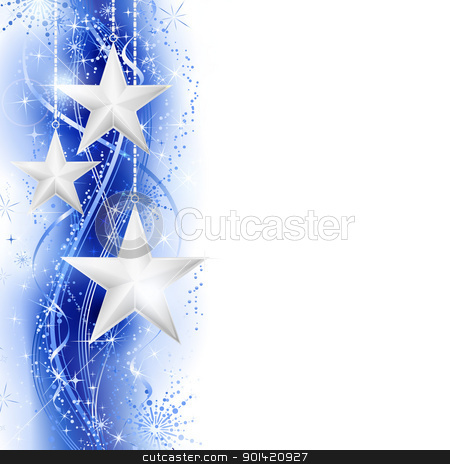 Blue silver star border stock vector clipart, Border, frame with silver stars hanging over a blue silver wavy pattern embellished with stars and snow flakes. Bright, vivid and festive for the season to come with space for your message. EPS10 by Ina Wendrock