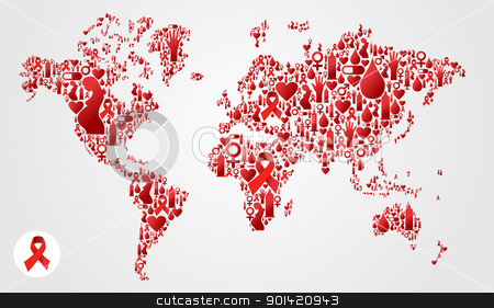 Globe world map with aids icons stock vector globe world map with aids icons gumiabroncs Image collections