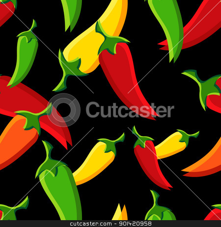 Chilli peppers pattern stock vector clipart, Seamless chilli peppers pattern background. Vector file available.  by Cienpies Design