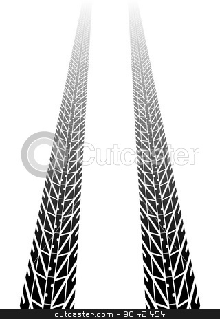 Tire tracks into distance stock vector clipart, Black tire tread fading into distance by Michael Travers