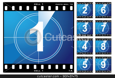 Film cell count down stock vector clipart, Old film cell elements count down numbers by Michael Travers
