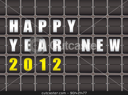 Happy New Year 2012 stock vector clipart, Happy New Year railway ticker board by Michael Travers