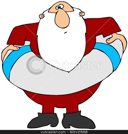 Santa In A Life Preserver stock photo, This illustration depicts Santa Claus with a large life preserver around his waist. by Dennis Cox