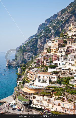 Positano view stock photo, Positano is a village and comune on the Amalfi Coast (Costiera Amalfitana), in Campania, Italy. by Perseomedusa