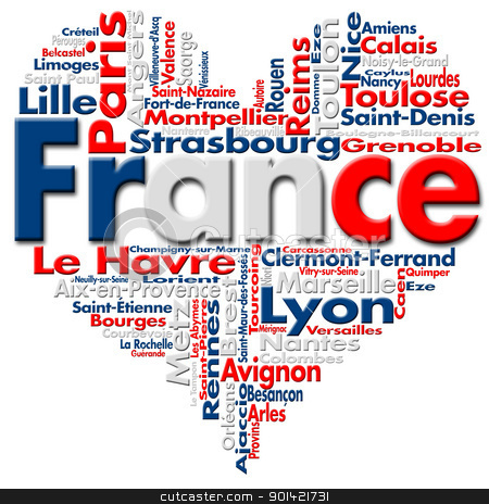 I Love France stock photo, Written France and French cities with heart-shaped, French flag colors  by catalby