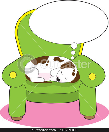 Dog Dreaming stock vector clipart, A contented dog is having a dream, while asleep on a green easy chair. by Maria Bell
