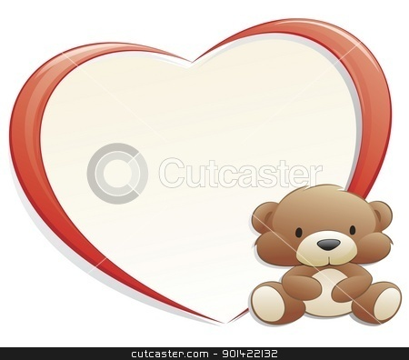 Teddy Bear with Heart-shaped Frame stock vector