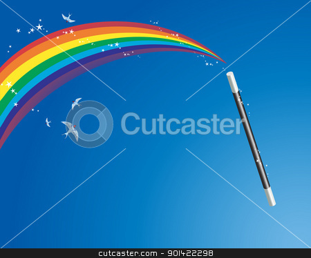 magic wand and rainbow stock vector clipart, an illustration of a magic wand creating a rainbow with bluebirds and sparkles by Mike Smith