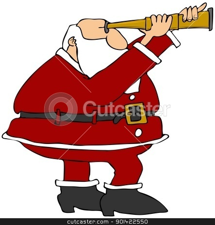 Santa Looking Through A Scope stock photo, This illustration depicts Santa Claus looking through a brass scope. by Dennis Cox