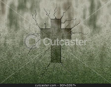 cross stock photo, christian cross symbol on stone wound by J?