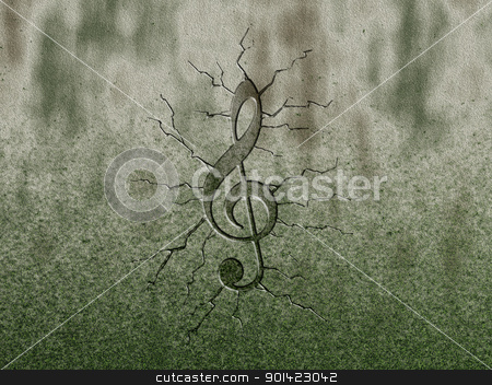 clef stock photo, clef relief on stone background by J?