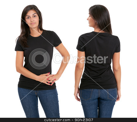Woman standing with blank black shirt stock photo, Young beautiful female with blank black shirt, front and back. Ready for your design or artwork. by © Ron Sumners