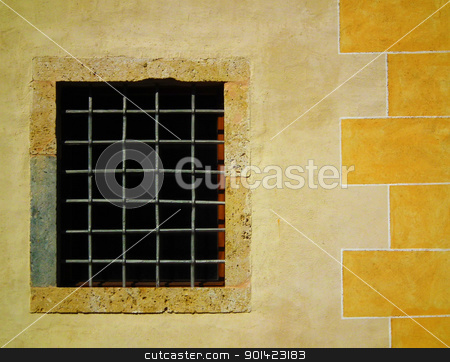 Old castle stock photo, Old gridded window on old medieval castle. by Primus