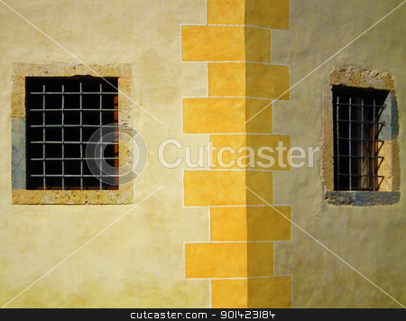 Windows stock photo, Old windows with grid on old castle. by Primus